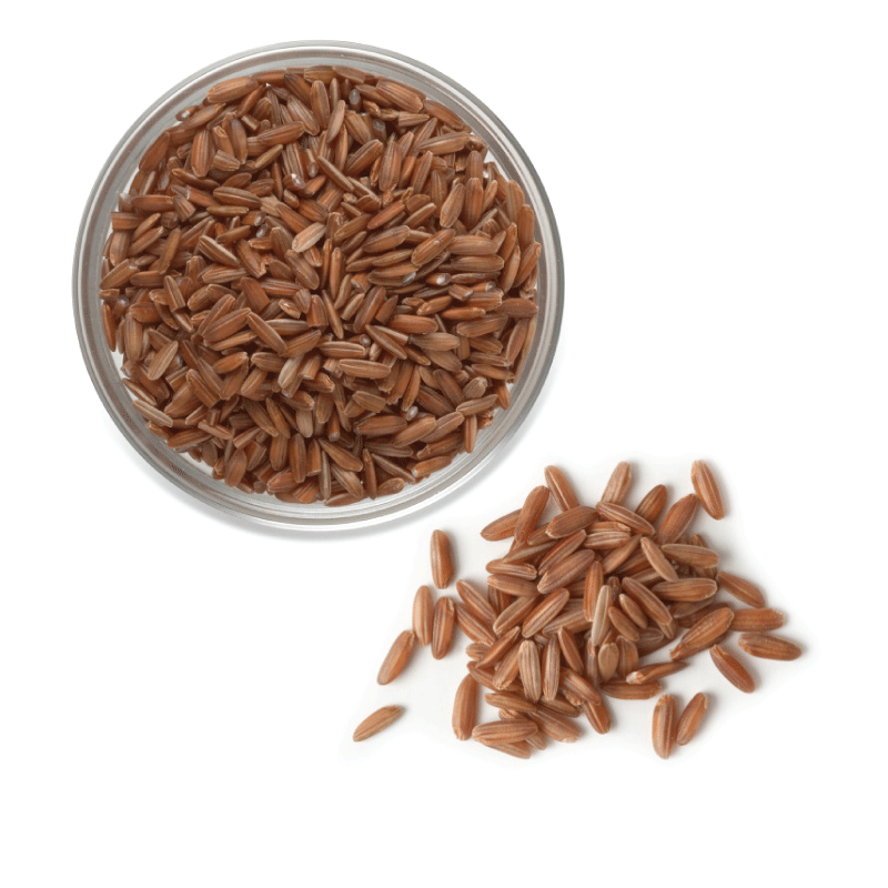 Overhead view of uncooked U.S. red aromatic rice.
