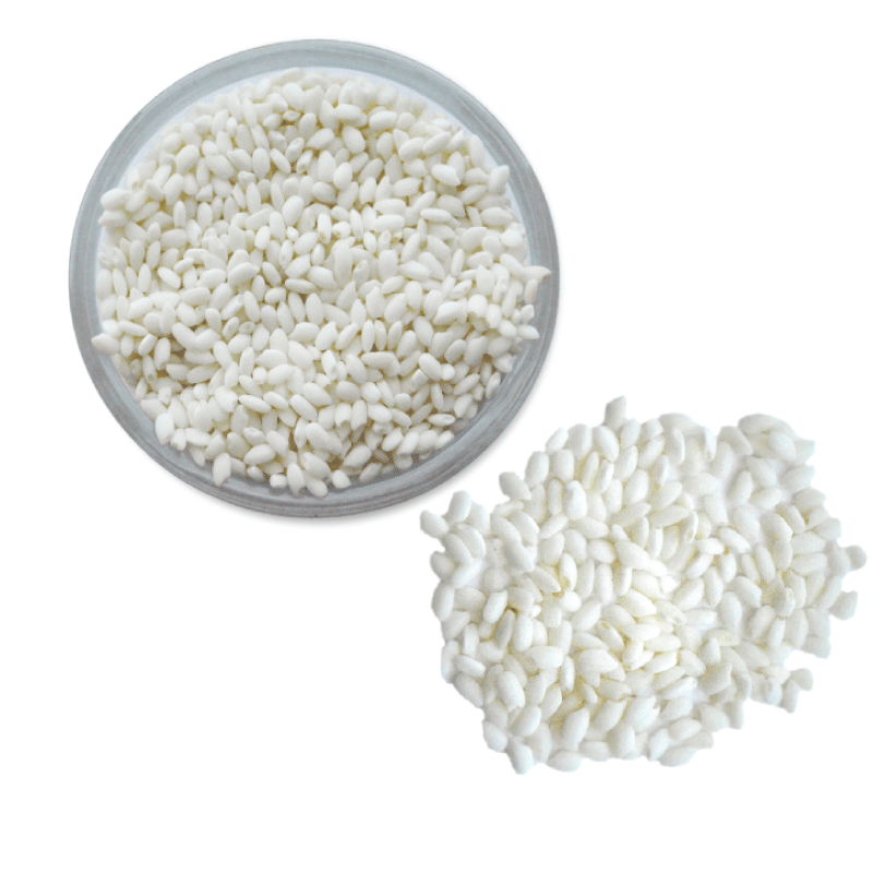 Overhead view of uncooked sweet rice.