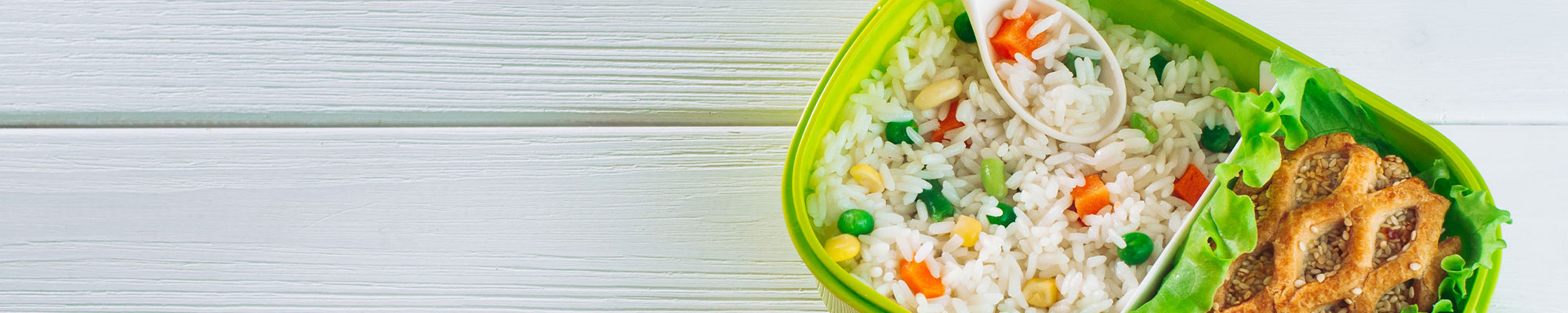 Banner Image of a school lunch with rice.