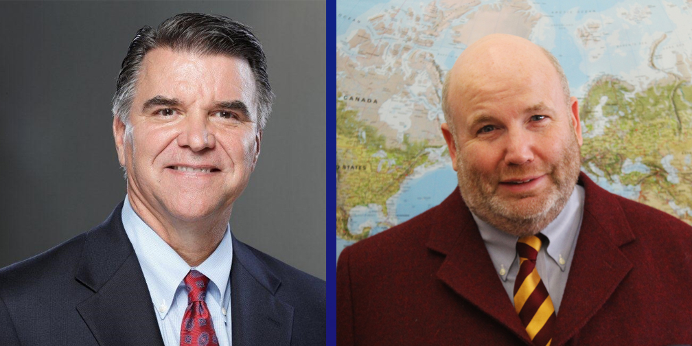 Headshots of two white men wearing business suits, one on left is clean shaven with graying temples, one on right stands in front of world map andhas a beard and is bald