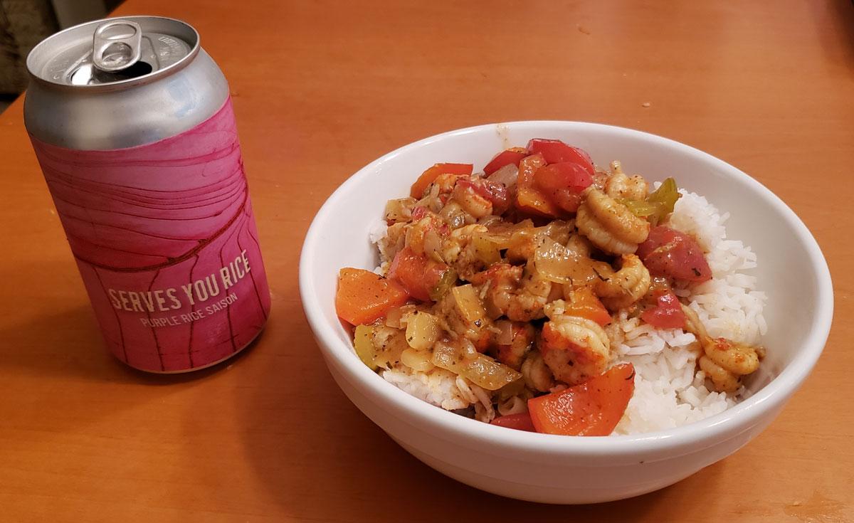 Crawfish-etouffee with white rice-&-rice-beer