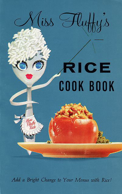 Cook book cover featuring Miss Fluffy Rice with stuffed tomato rice dish