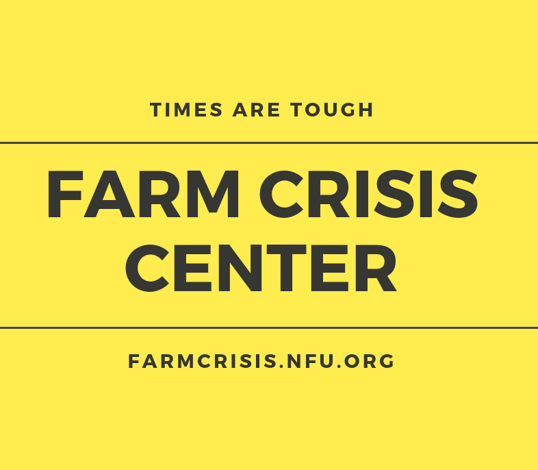 Farm Crisis Center website information on bright yellow background