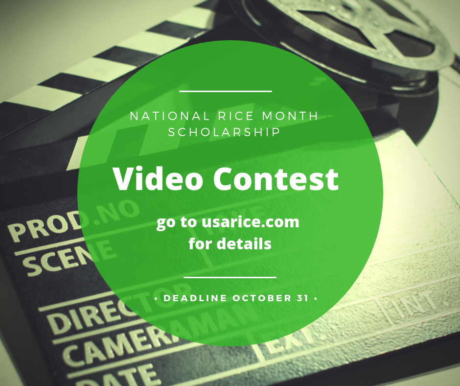 Movie clapboard in background, green circle in foreground with text about the National Rice Month Scholarship Video Contest
