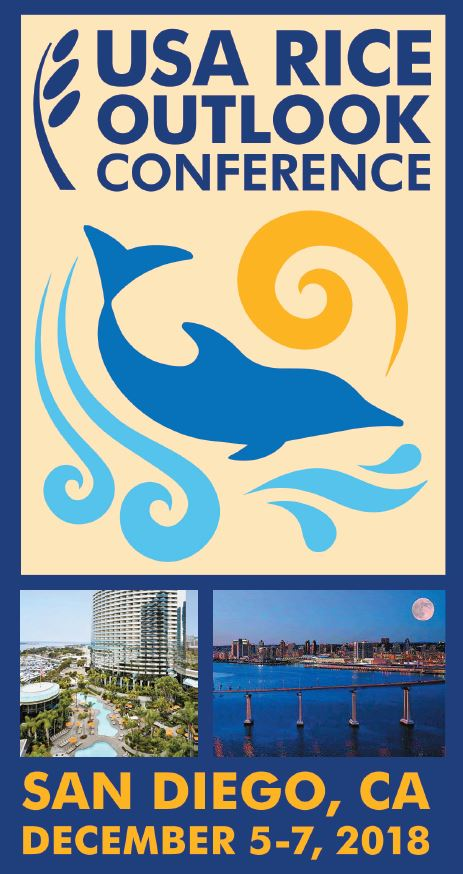 2018 Outlook logo, blue silhouette of dolphin jumping out of light blue waves with yellow swirl sun overhead
