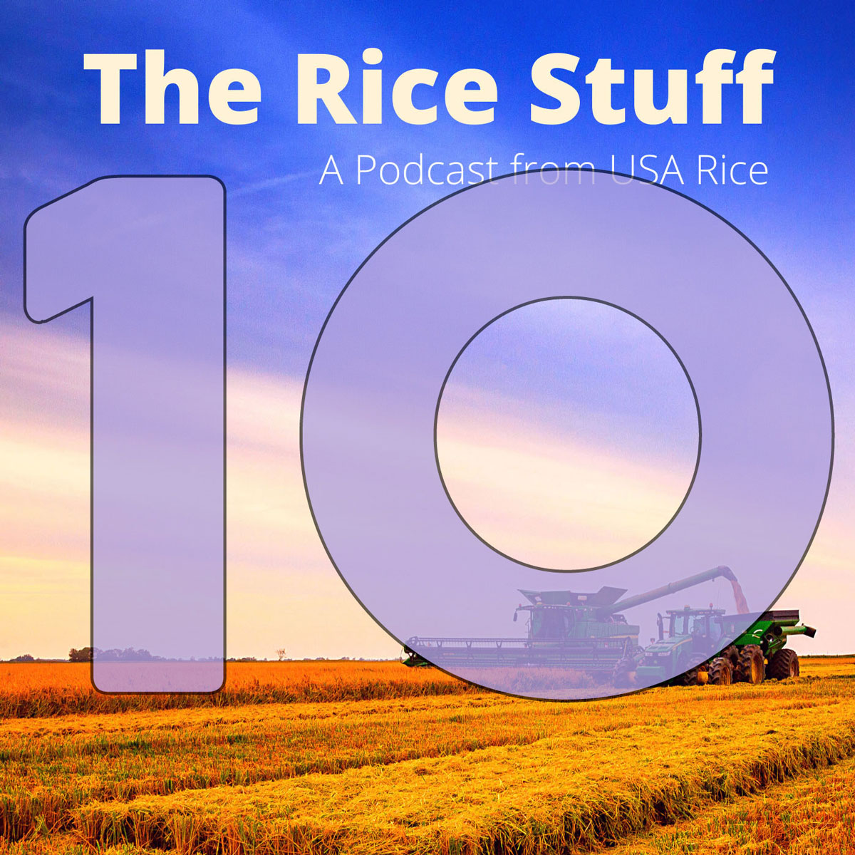 Number 10 superimposed over photo of combine and grain cart in mature rice field