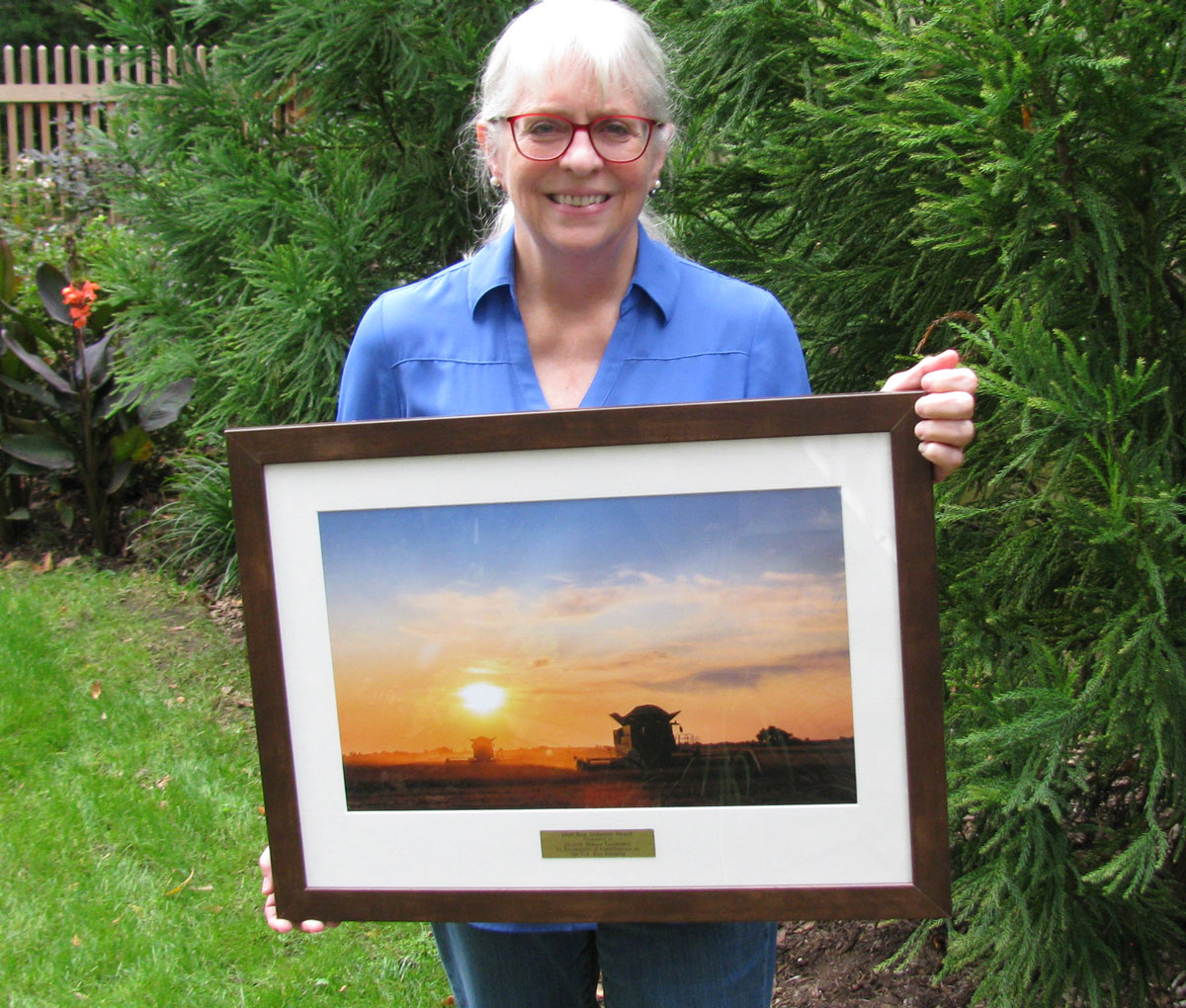 Sharon Bomer Lauritsen (older white woman with white hair and red-rimmed glasses) holds framed photo of combine in rice field