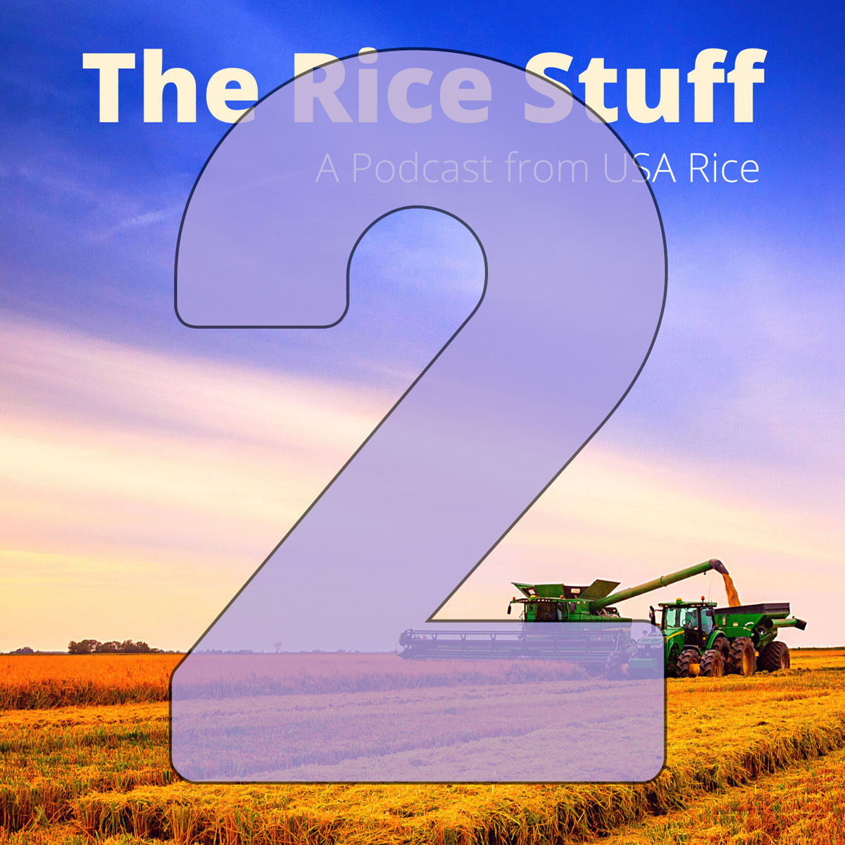 Combine and rice cart in background, number 2 superimposed over photo