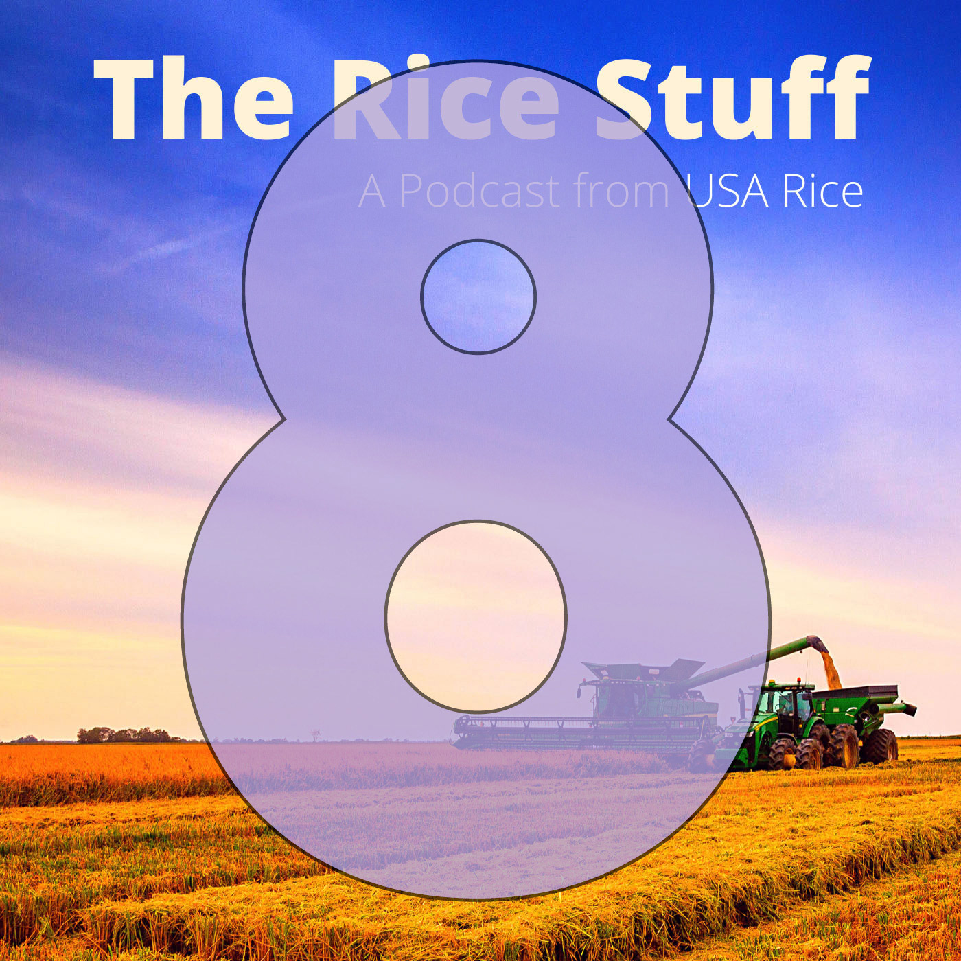 Number 8 superimposed over photo of combine and grain cart in mature rice field