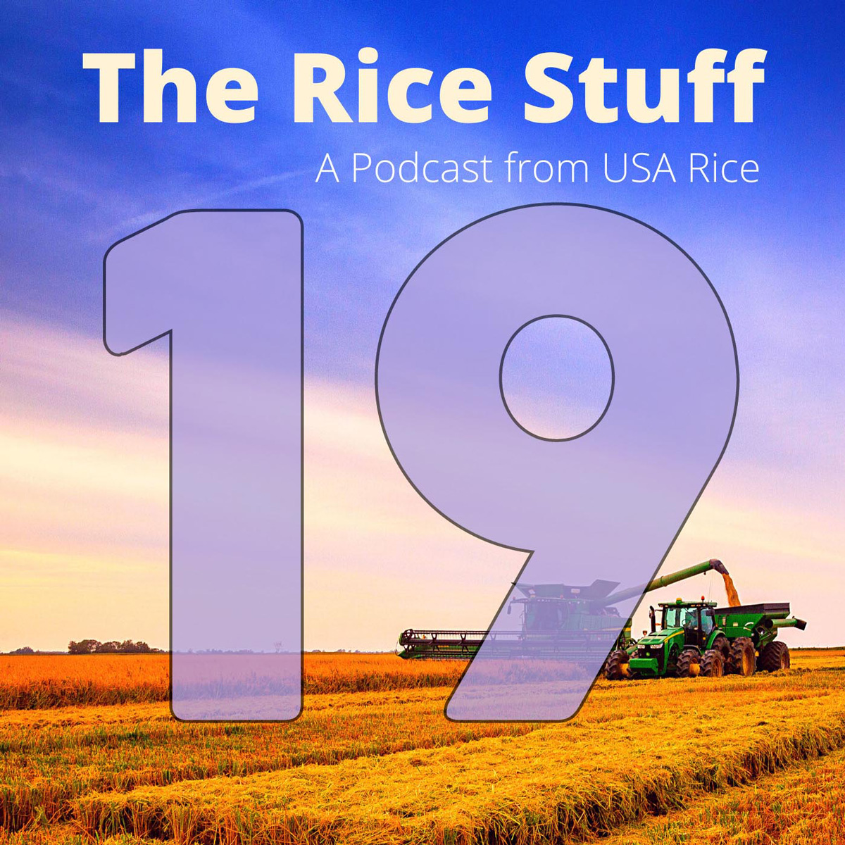 Number 19 superimposed over photo of combine and grain cart in mature rice field