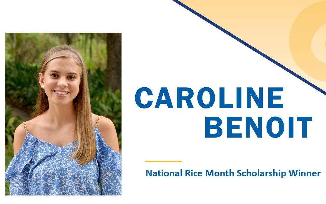 2018 NRM Scholly Winner Caroline Benoit headshot on presentation slide, photo of young woman with long blonde hair, her name in blue text, yellow swirl in upper right corner
