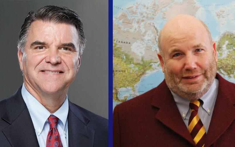 Headshots of two white men wearing business suits, one on left is clean shaven with graying temples, one on right stands in front of a world map andhas a beard and is bald