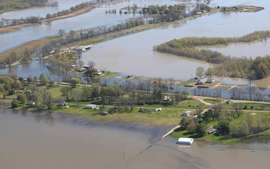 Aerial view of flooded fields and farms