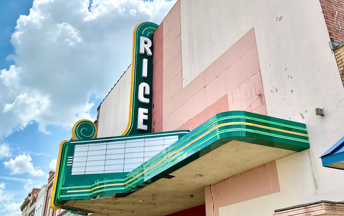 Rice Theater marquee in Crowley LA, Kathryn Shea Duncan photo