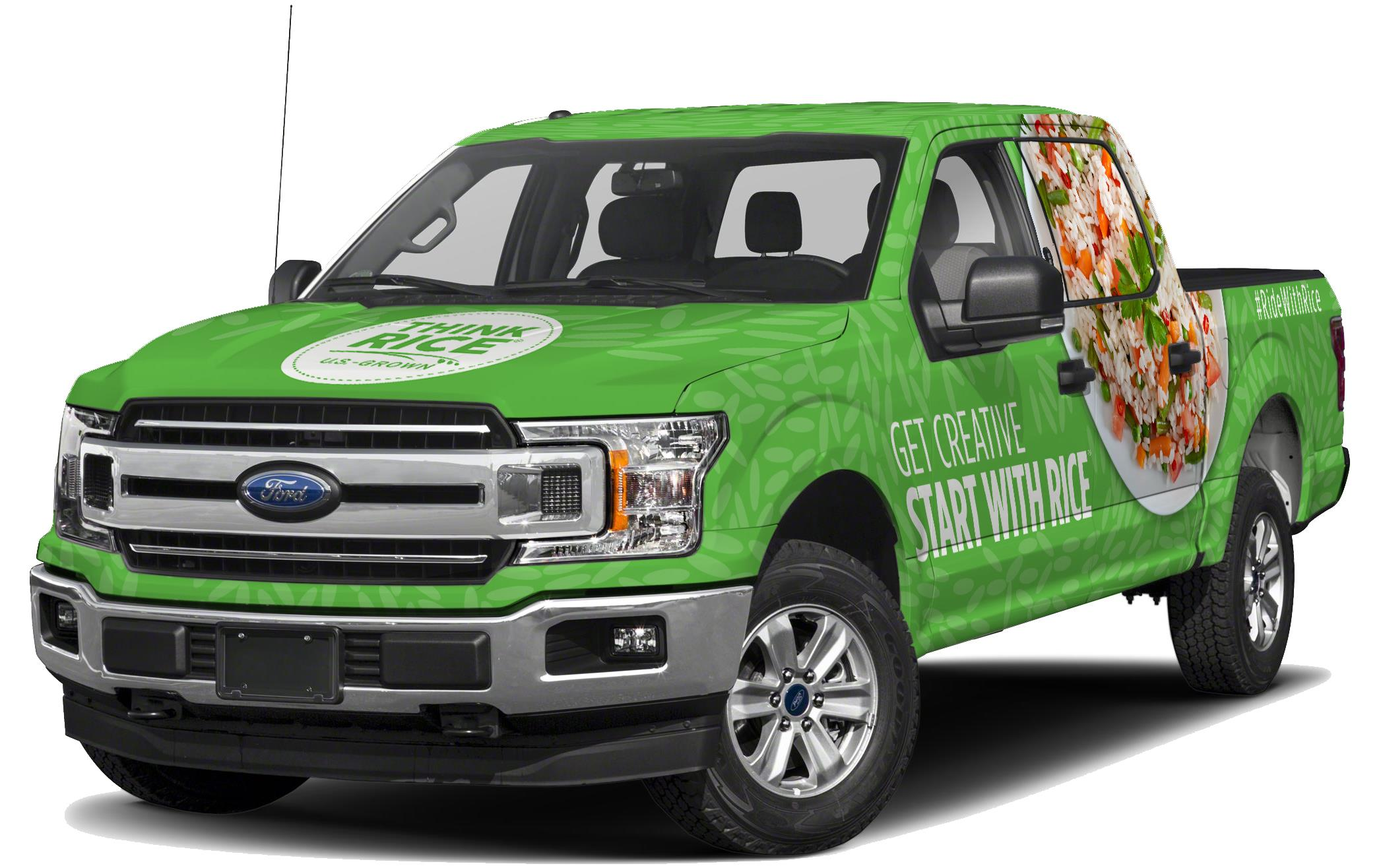 """Green Ford pickup truck with decals saying """"Think Rice,"""" """"Get Creative Start with Rice"""" and a large photo of rice bowl covering back passenger window"""