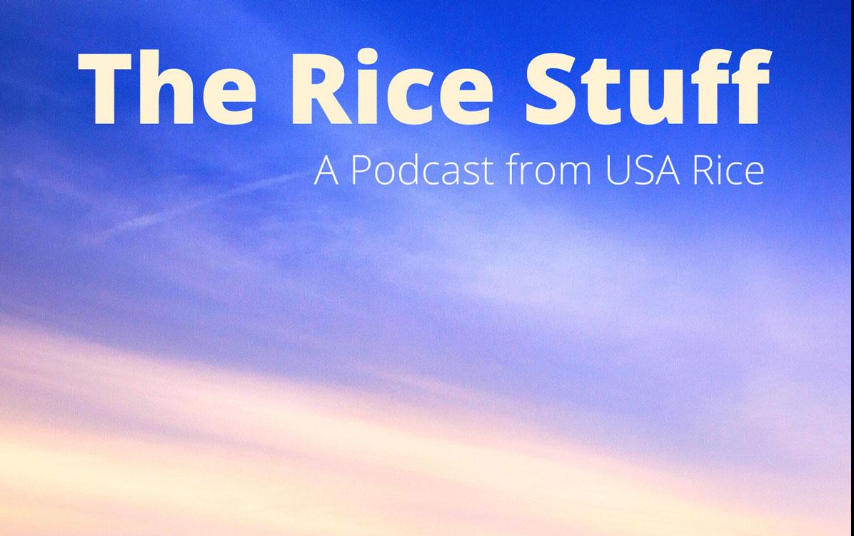 The Rice Stuff Podcast logo shows text above vast blue sky