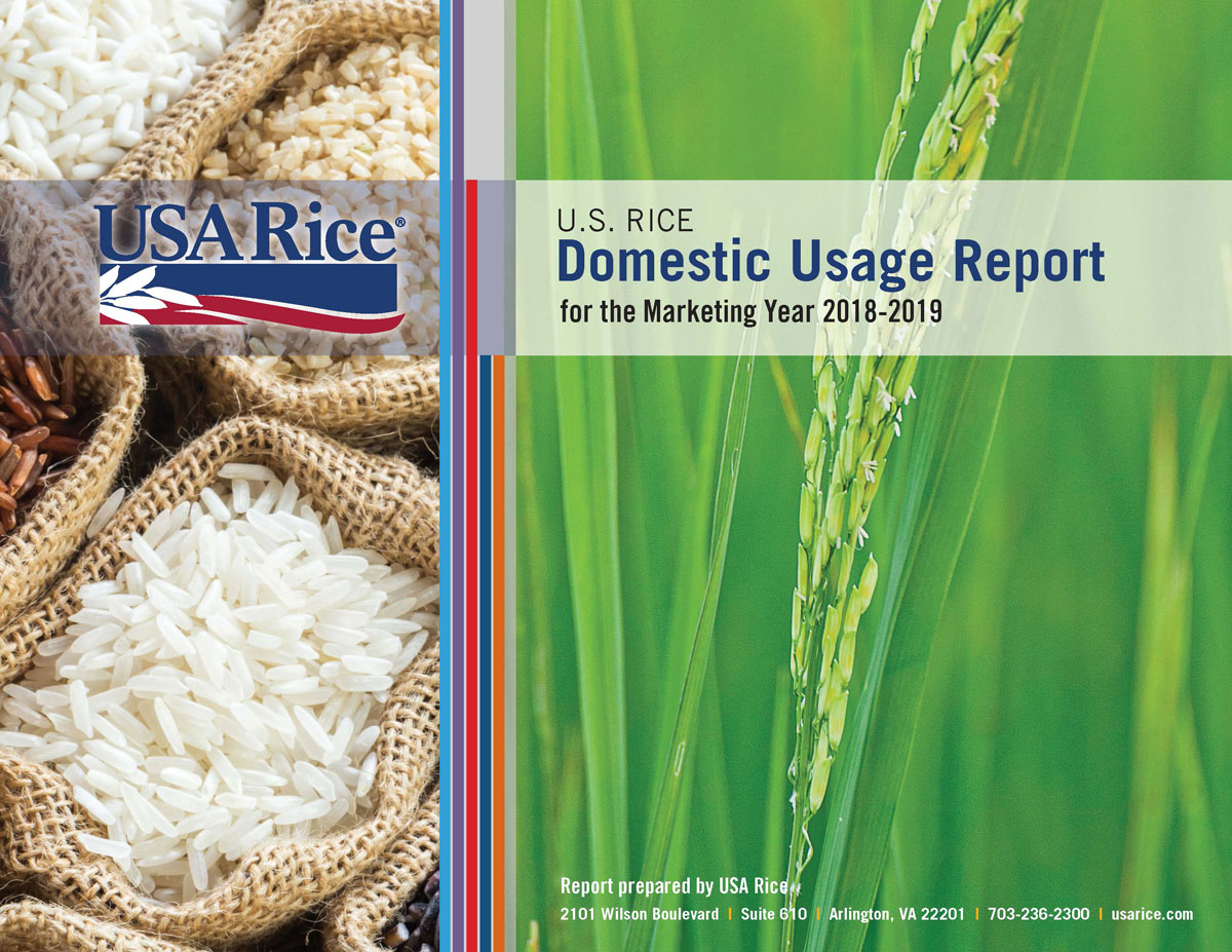 DUR-Cover with picture of rice varieties in burlap sacks on left, and close-up of green rice in the field on right