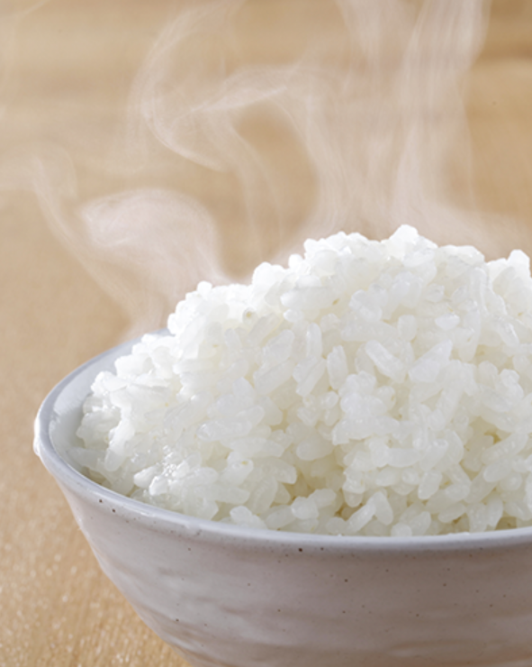 Steaming bowl of rice