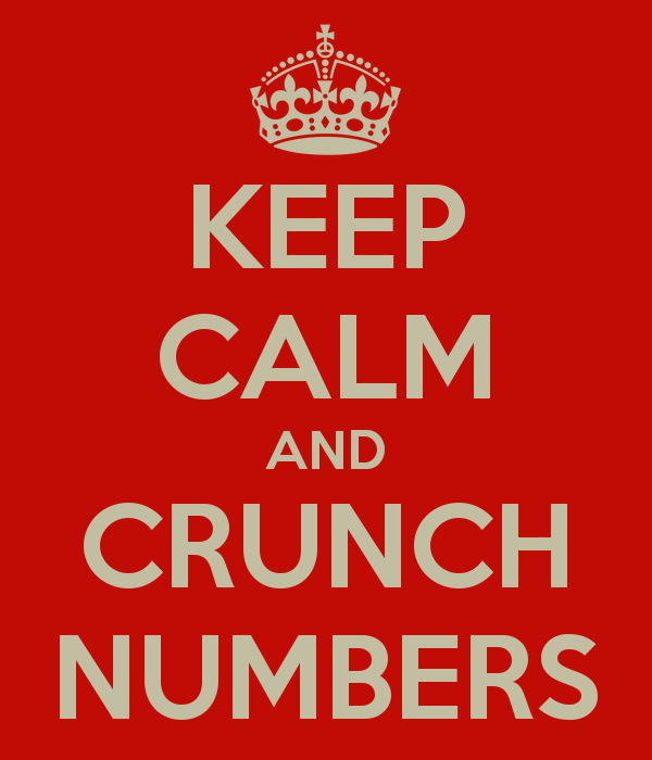 "Poster with red background and tan text ""Keep Calm and Crunch Numbers"""