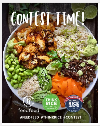 Feedfeed NRM Contest banner shows colorful rice dish and various sponsor logos
