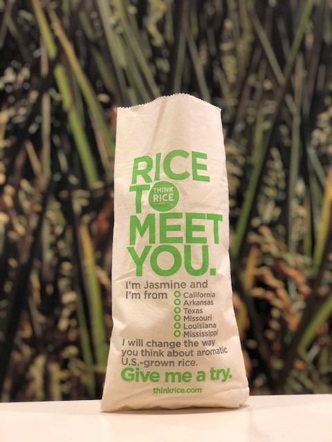 """Think Rice Jasmine Bag with text """"Rice to Meet You"""" and list of all 6 rice producing states"""