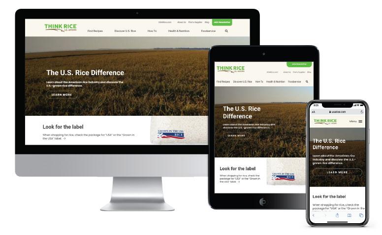 New ThinkRice website on three different screens: desktop, iPad, and cellphone