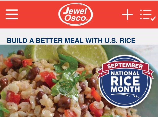 """Jewel Osco ad with colorful rice dish, red/white/blue NRM logo and title """"Build a Better Meal with U.S. Rice"""