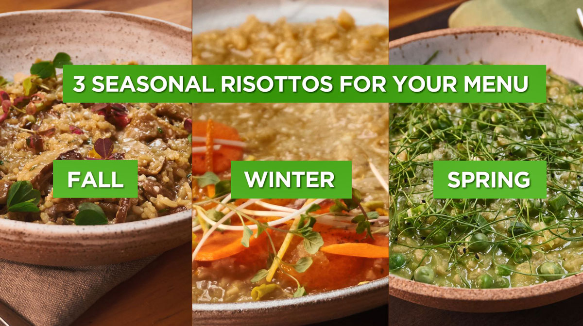 Images of three different risotto dishes for fall, winter, and spring