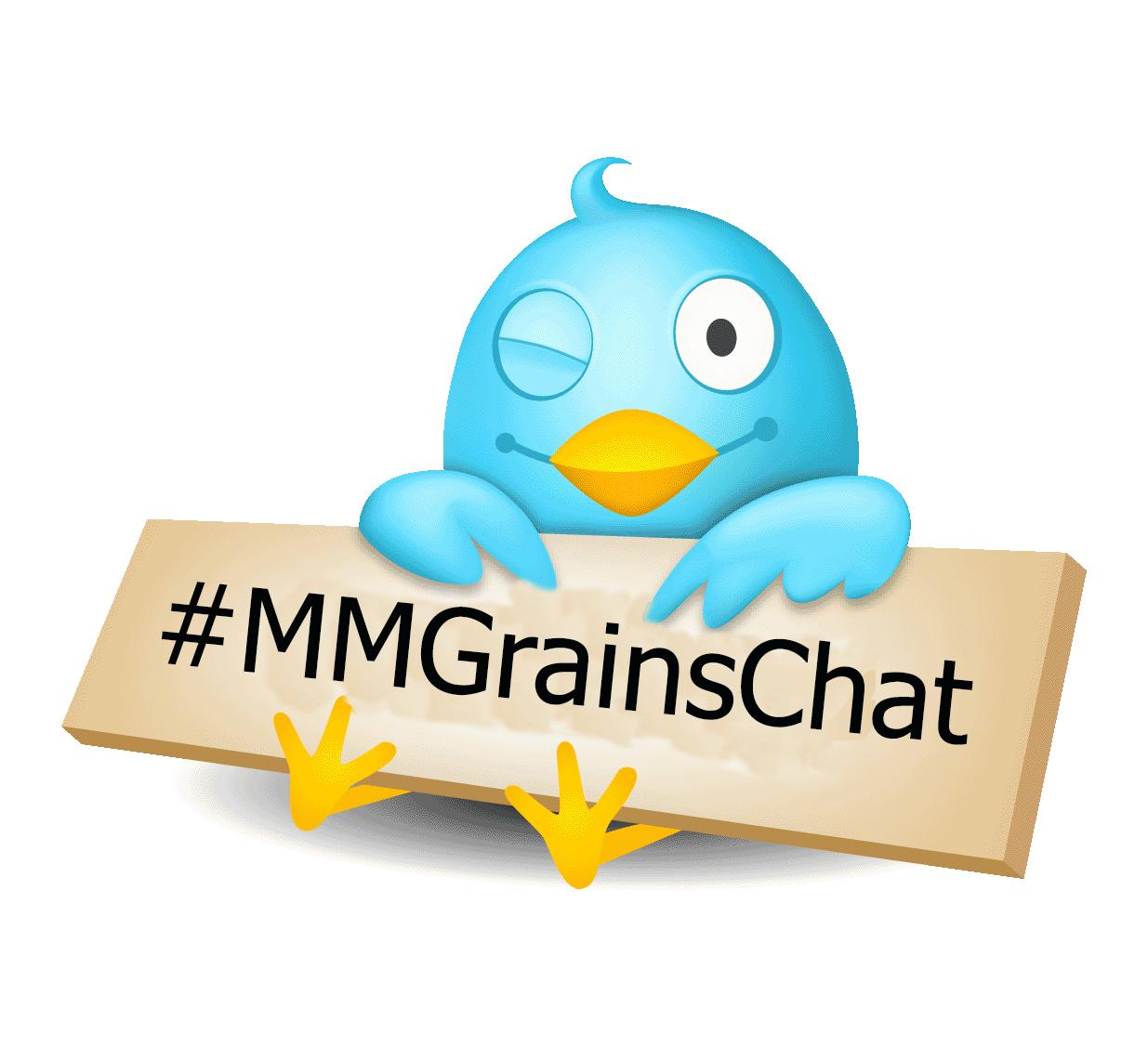 """Cartoon Twitter Bird holds sign with text """"#MMGrainsChat"""""""