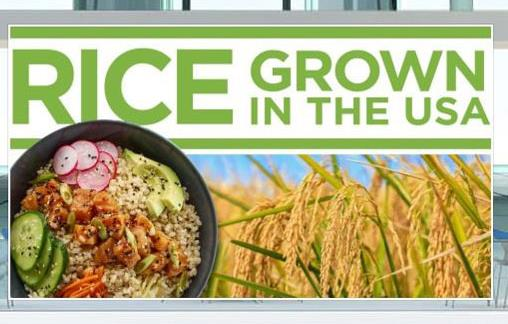 """Poster with text """"Rice Grown in the USA"""" with photo of mature rice plants and a rice bowl"""
