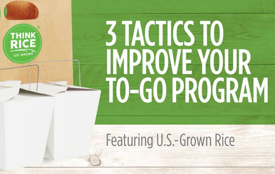 3-Ways-to-Improve-Your-To-Go-Program graphic with one brown bag w/Think Rice logo and two white Chinese take-out containers