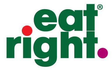 """Words """"eat right"""" in green text with red dot over the I and purple dot at the end of right"""