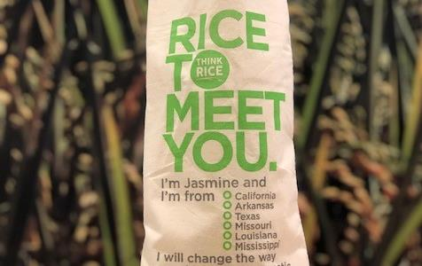 "Think Rice Jasmine Bag with text ""Rice to Meet You"" and list of all 6 rice producing states"