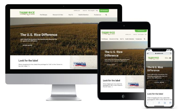 New ThinkRice website on three different screens: desktop, iPad, and cellphone