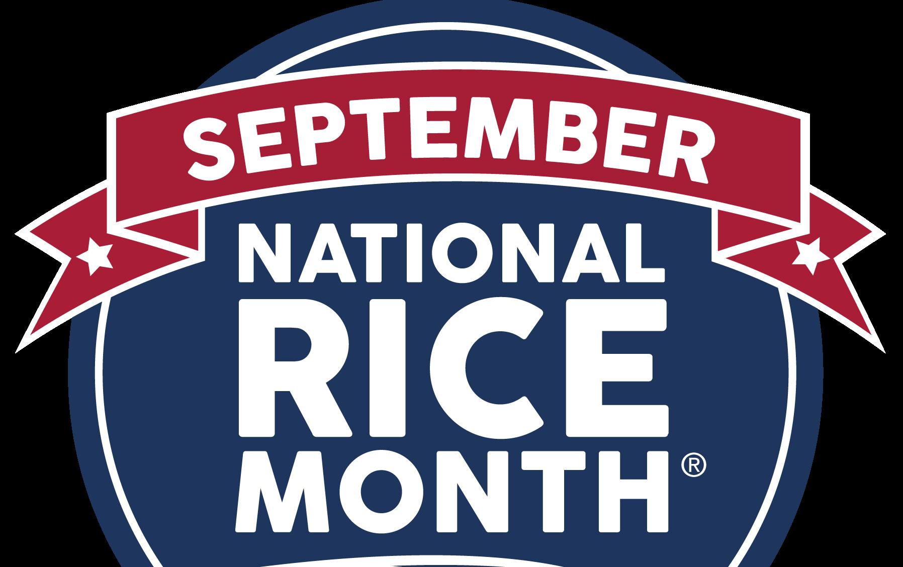 September National Rice Month Logo -- red, white & blue