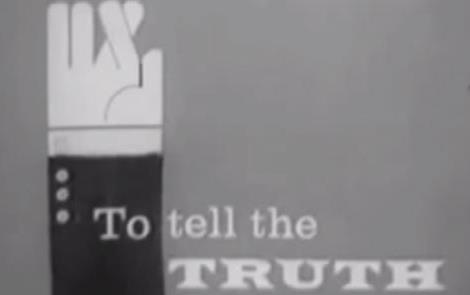 "Black and white cartoon of hand in business suit sleeve with fingers crossed and text ""To tell the Truth"""