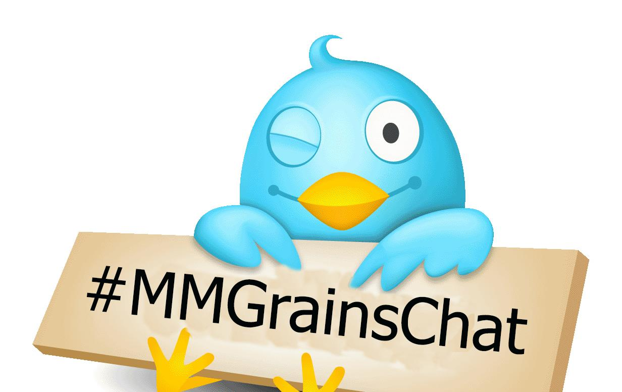 "Cartoon Twitter Bird holds sign with text ""#MMGrainsChat"""