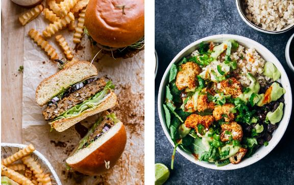 Two photos of meals made with rice: burgers and salad