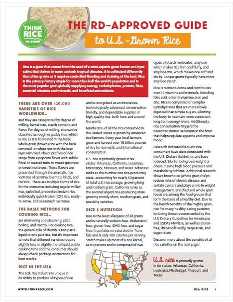 Front page of nutrition guide, 3 columns of text plus US map & photo of bowl of white rice