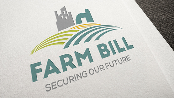 2018 Farm Bill Logo, graphic of plowed fields with silo and mill