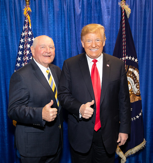 Ag Secy Sonny Perdue & President Trump give thumbs up, standing in front of bright blue curtain and American flag