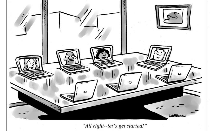 Cartoon shows computers sitting around conference room table for a virtual meeting