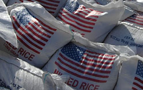 Bags of US rice in Haiti