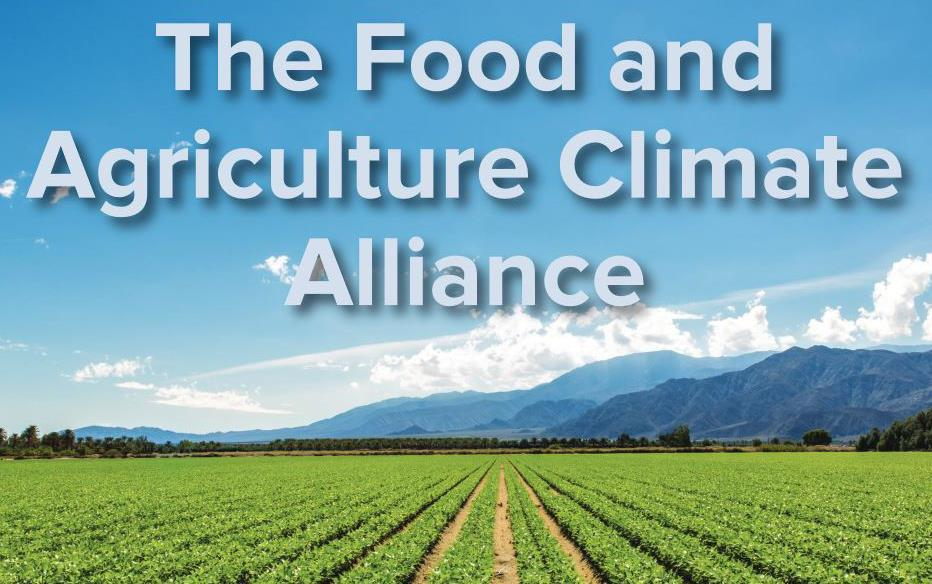 The Food and Agriculture Climate Alliance title slide shows blue sky, moutains, and green row crop