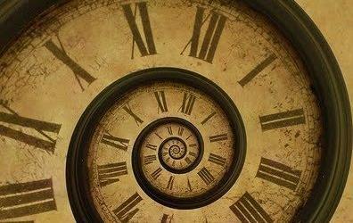 Roman numerals spiraling down on antique clock