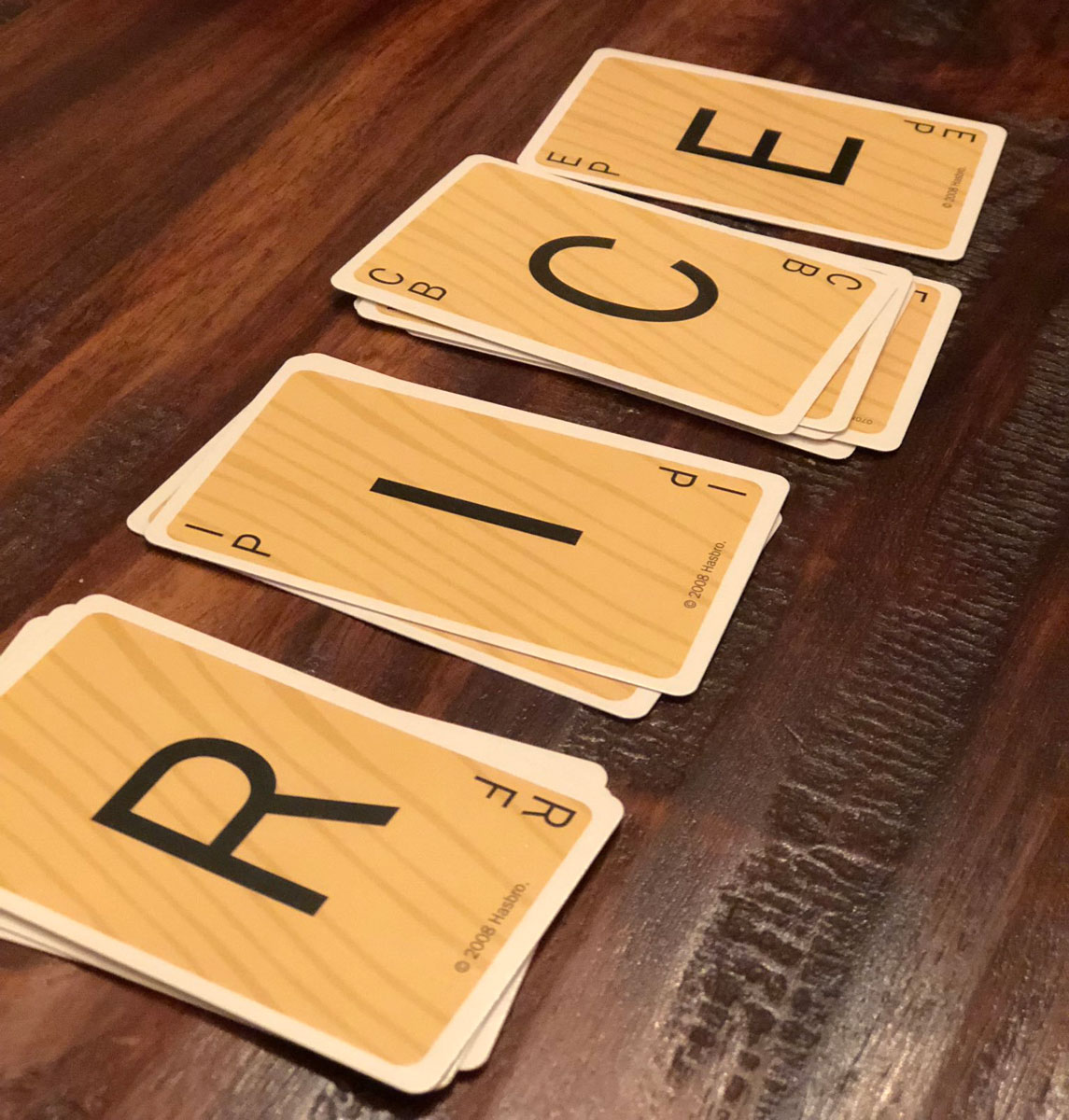 Game cards spell out R-I-C-E