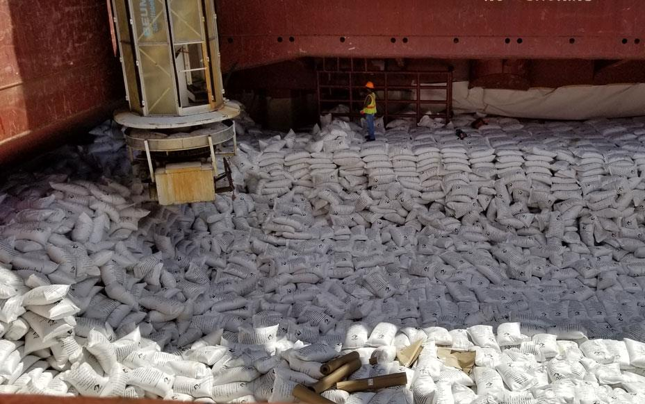 Bags of US-rice in hold of ship