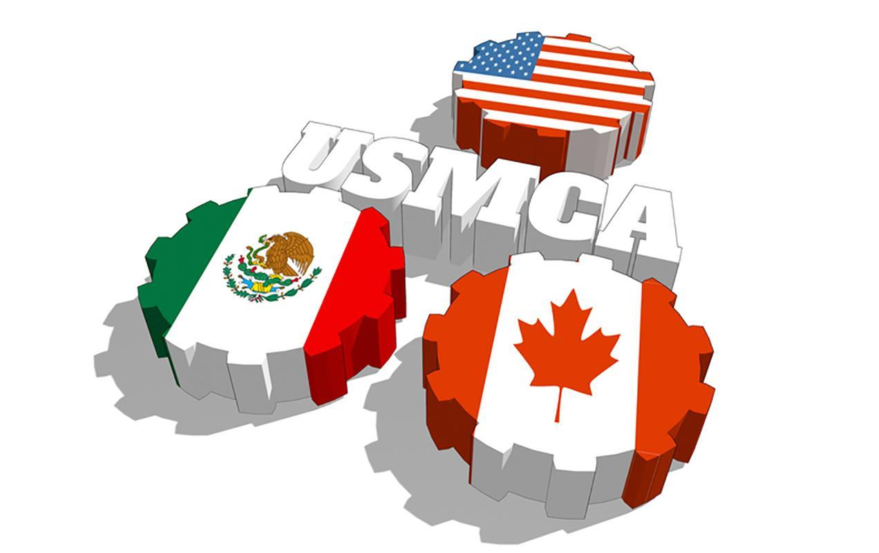 USMCA gears decorated like flags of US, Mexico, and Canada