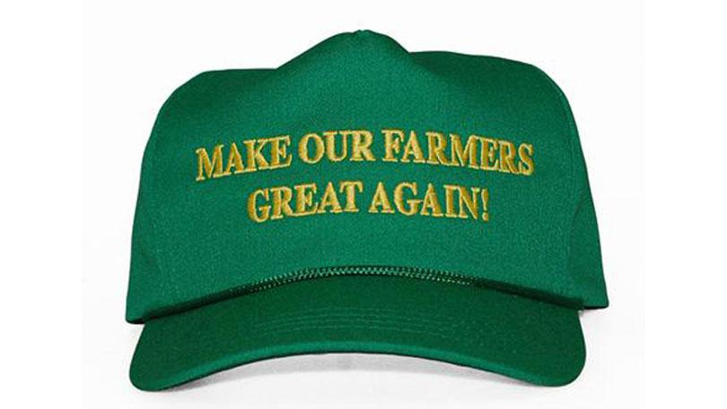 "Green ball cap that says ""Make Our Farmers Great Again"""