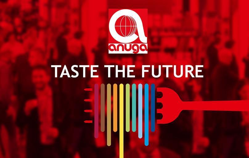 Anuga Taste the Future logo, multi-colored pasta wrapped around red fork